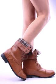 tan faux leather fold over checker fabric inside lace up boots