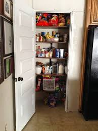 diy kitchen pantry with swinging door and shelving