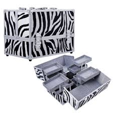 14 pro aluminum makeup box make up cosmetics case jewelry organizer tray lock zebra print