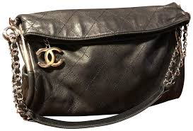 chanel vintage chain ring handle quilted medium black leather hobo bag