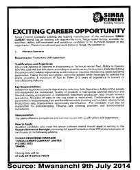 process operator tayoa employment portal job description