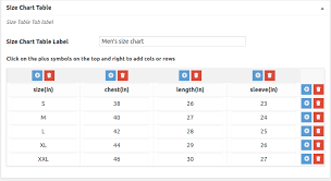 Woocommerce Product Size Chart Size Guide Table Plugin