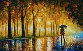 bewitched park palette knife oil painting painting 60x100 cm