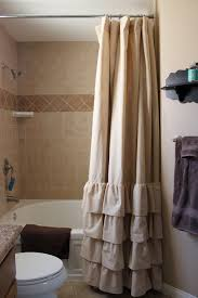 Tan Four Ruffle Shower Curtain by SelahJamesHandmade on Etsy