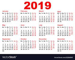 Horizontal Calendar 2019 Year Calendar Template Grid Pocket Horizontal