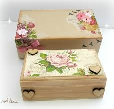 Memory Box Decorating Ideas Hand Decorated Wooden Box with Gift Box Vintage Flowers £100100 25
