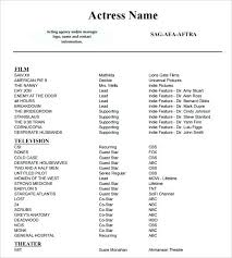 Actors Resume Template Word Actor Resume Template Musical Theatre