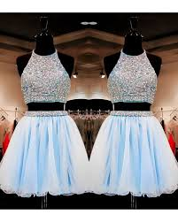 Short Light Blue Grad Dresses Sweet 16 Gowns Light Sky Blue Tulle Short Homecoming Dresses Dress 2 Pieces With Beading Hc0036
