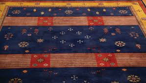 rugsville gabbeh tribal navy blue gold wool rug 13230 13230