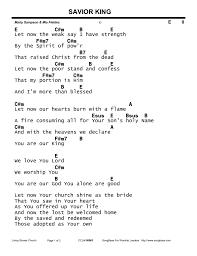 Heart Of Worship Chord Chart Savior King Chord Chart