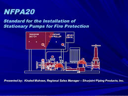 nfpa 20 nfpa20 standard for the installation of stationary pumps for fire protection presented by khaled muhsen
