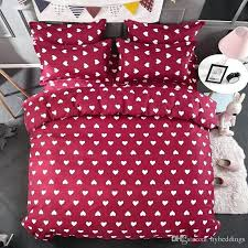whole love heart red bedding set white hearts duvet cover bed single double queen king size
