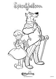 Kleurplaat Sprookjesboom Roodkapje En Wolf Kleurplatennl