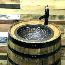 barrel sink bathroom whiskey sinks how to make a bourbon barrel sink bathroom