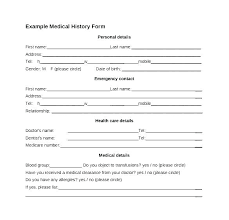 Personal Health Record Forms Health History Template