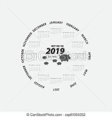 Circle Calendar Template 2019 Calendar Template Circle Calendar Template Calendar 2019 Set Of 12 Months Starts From Monday Yearly Calendar Vector Design Stationery