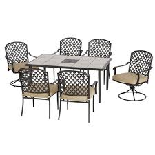 seven piece dining set: hampton bay marysville  piece patio dining set with beige cushions  pc the home depot