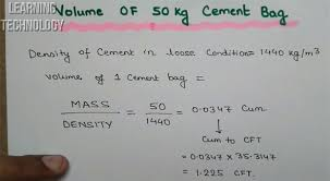 Cement Density Chart Volume Of Cement Bag In Cubic Feet Volume Of Cement In 1