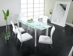 modern dining table with glass top and steel legs white chairs sleek tables contemporary caesar set