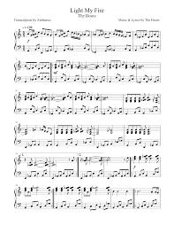 Light My Fire Sheet Music Light My Fire The Doors Sheet Music For Piano Download