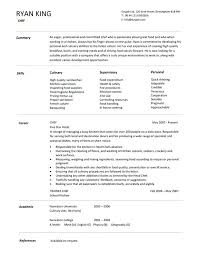 Sample Resume Of Chef Image Gallery Of Sample Resume For A Chef ...