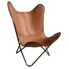 Leather butterfly chair brown. prev