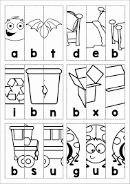 free phonics letter of the week b beginning b cvc words picture scramble cut and paste in order to reveal the picture and word