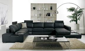 leather couch living room. Luxury Black Leather Sectional Sofa For Living Room Interior Decoration  With Cool Glass Top Coffee Table Leather Couch Living Room M