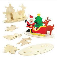 details about wooden scene decoration kit diy santa sleigh tree reindeer