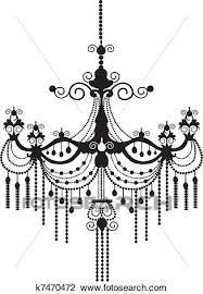 baroque chandelier silhouette view large clip art graphic
