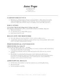 Objective In Resume For Internship Career Objective Samples For