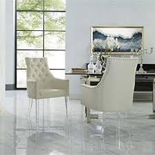 Acrylic legs for furniture Chrome Image Unavailable Rana Furniture Amazoncom Linen Acrylic Leg Dining Chair Set Of 2 Cream White