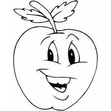 Happy Apple Coloring Page