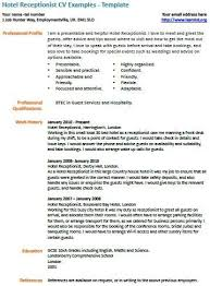 Resume Format For Receptionist In Hotel Professional Resume