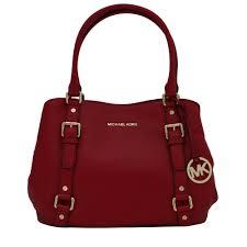 Michael Kors Bedford Leather Large East West Satchel Bag- Red