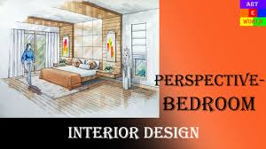 Manual Rendering Point Interior Design Perspective Drawing - Interior designing of bedroom 2