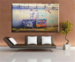 Living Room Wall Art Aliexpresscom Buy Life Is Short Banksy Canvas Painting Wall