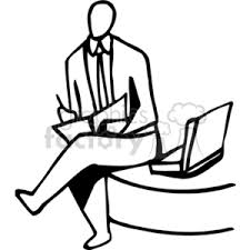 desk clipart black and white. Black And White Man Jotting Notes Sitting On A Desk Clipart