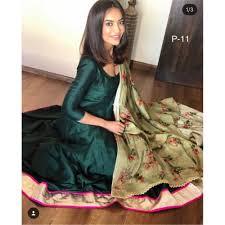 Plain Silk Salwar Kameez Designs Dark Green Banglori Silk Plain Anarkali Suit Silk Kurti