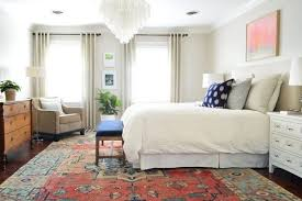bedroom rug placement king bed