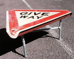 road sign furniture. give way coffee table road sign furniture l