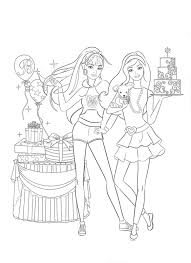 Barbie Coloring Pages Birthday Party With Cake Balloons And