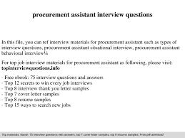 Assistant Interview Questions Procurement Assistant Interview Questions