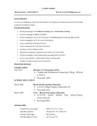 Resume Template Sample Resume For Software Tester Fresher Free