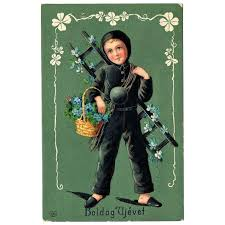 Chimney Sweeper New Years Postcard With Little Chimney Sweeper Art Nouveau 1903