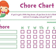 Little Mermaid Girl Printable Chore Chart With Free