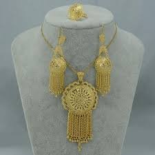22k gold plated pendant necklaces earrings ring dubai set women s fashion jewellery on carousell