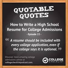 How To Write A High School Resume For College Admissions With Kathy