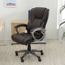 K Brown PU Leather High Back Office Chair Executive Task Ergonomic Computer  Desk