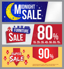 furniture sale banner. Download Midnight Sale, Furniture Sale And Super Banner For Commercial Stock Illustration -